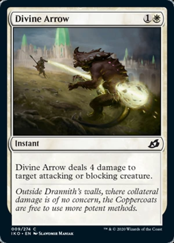 Divine Arrow, a reprinted card from Ikoria: Lair of Behemoths for Magic: The Gathering.
