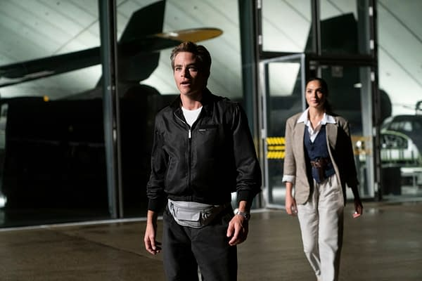 Copyright: © 2020 Warner Bros. Entertainment Inc. All Rights Reserved.  Photo Credit: Clay Enos/ ™ & © DC Comics  Caption: (L-r) CHRIS PINE as Steve Trevor and GAL GADOT as Wonder Woman in Warner Bros. Pictures' action adventure