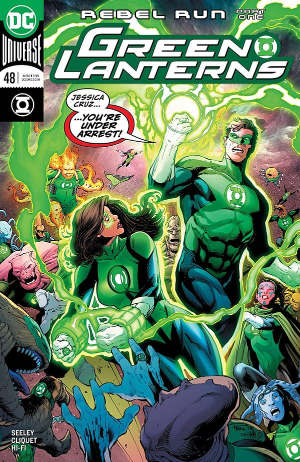 Green Lanterns #48 cover by Paul Pelletier, Danny Miki, and Adriano Lucas