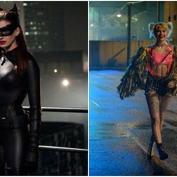 Anne Hathaway as Catwoman in The Dark Knight Rises (2012). Margot Robbie in Birds of Prey (2020). Images courtesy of Warner Bros.