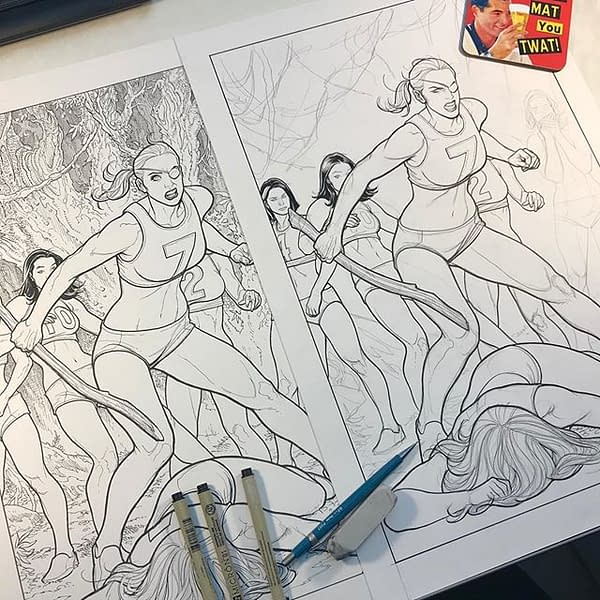 This is What Three Hours of Frank Cho Crosshatching Gets You