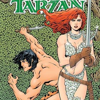 Red Sonja/Tarzan #3 cover by Aaron Lopresti