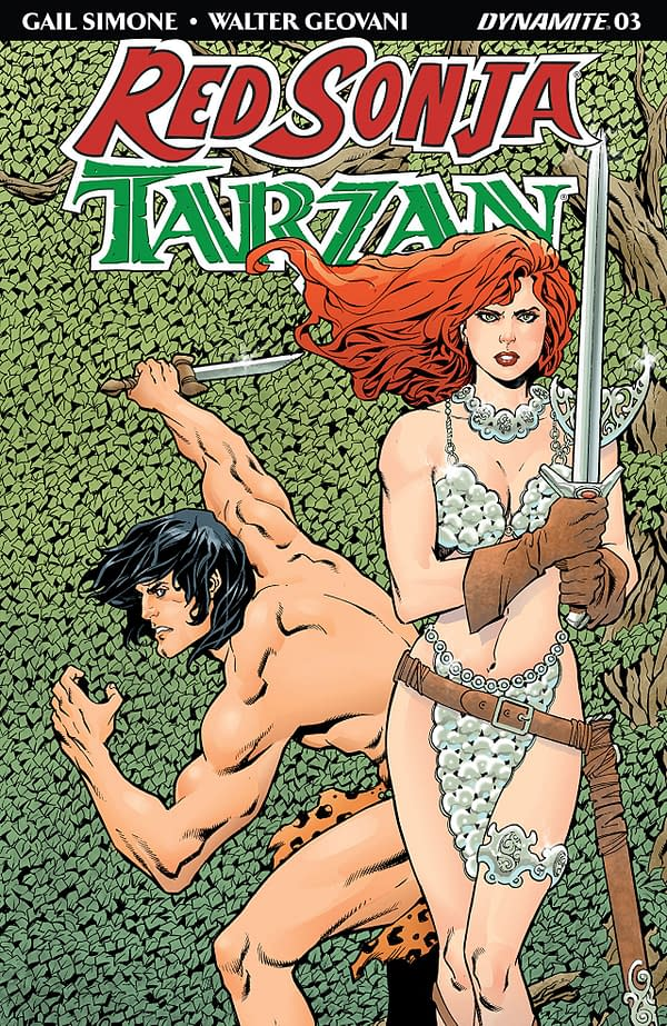 Red Sonja/Tarzan #3 cover by Aaron Lopresti