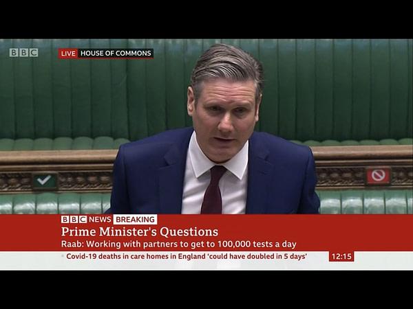 Aujourd'hui, l'heure des questions du Premier ministre est devenue semi-virtuelle. Screencap de la BBC.