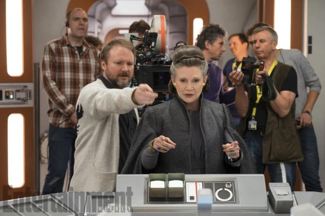 Rian Johnson and Carrie Fisher on the set of Star Wars: the Last Jedi