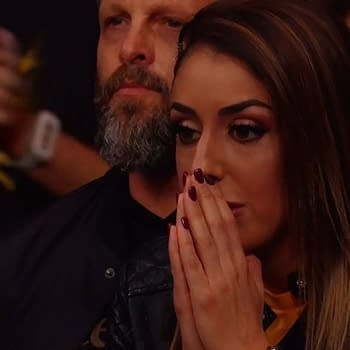 AEW Star Britt Baker appears in the audience of NXT Takeover. [Screencap from Broadcast]