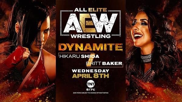 Britt Baker and Hikaru Shida battle on AEW Dynamite, courtesy of AEW.