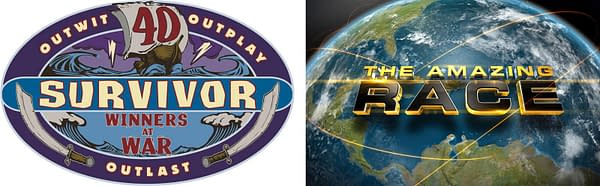 A look at the Survivor: Winners at War and The Amazing Race logos, courtesy of CBS.