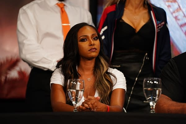 Brandi Rhodes appears at a press conference on AEW Dynamite (Credit: AEW)