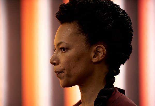 BRAVE NEW WORLD -- Episode 108 -- Pictured: Nina Sosanya as Mustafa Mond -- (Photo by: Steve Schofield/Peacock)