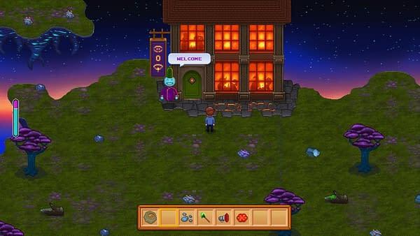 A nighttime screenshot of Circadian City's overworld dreamscape environment.