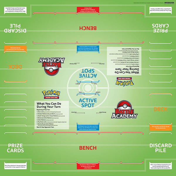 The game board for the Pokémon Trading Card Game Battle Academy game.