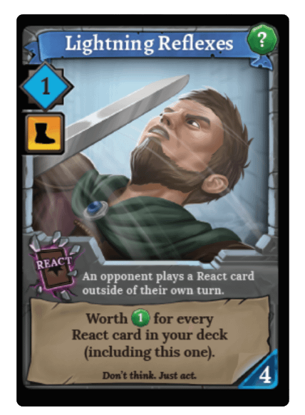 Lightning Reflexes, a new card coming only with preorders of Clank! Adventuring Party.