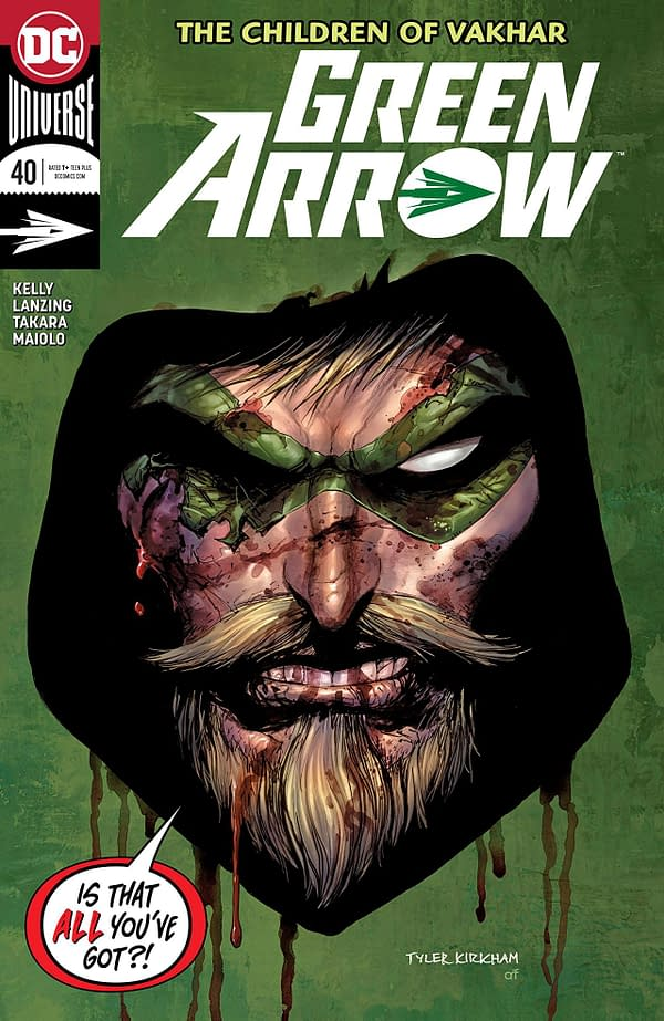 Green Arrow #40 cover by Tyler Kirkham, Arif Prianto, and Tomeu Morey