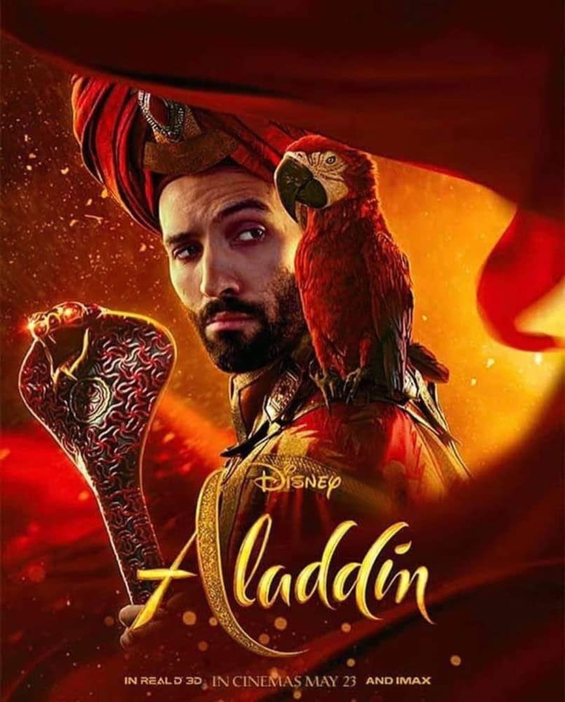 4 Character Posters and 1 New International Poster for Aladdin, First Look at Iago