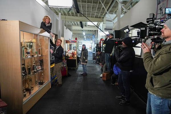 Julie Bowen and Jesse Tyler Ferguson on set and behind the scenes as they film the finale to Modern Family, courtesy of ABC.