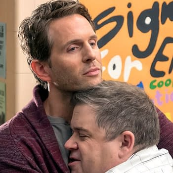Jack and Durbin hug it out on A.P. Bio, courtesy of NBCUniversal.