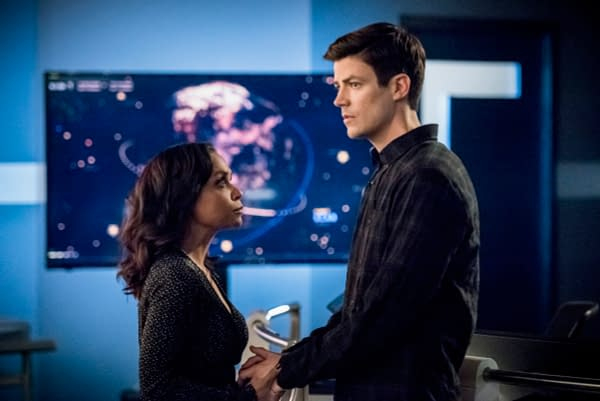 Danielle Nicolet as Cecile Horton and Grant Gustin as Barry Allen in The Flash, courtesy of The CW.