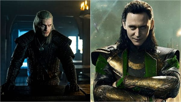 Henry Cavill in The Witcher and Tom Hiddleston as Loki (Images: Netflix/Disney)