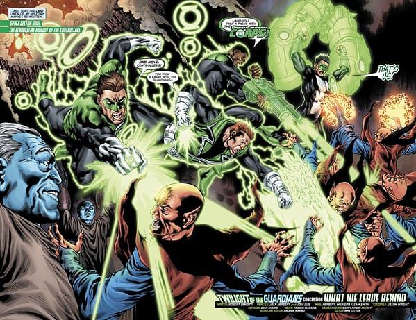 Hal Jordan and the Green Lantern Corps #36 art by Jack Herbert, Jose Luis, Mick Gray, Cam Smith, and Jason Wright