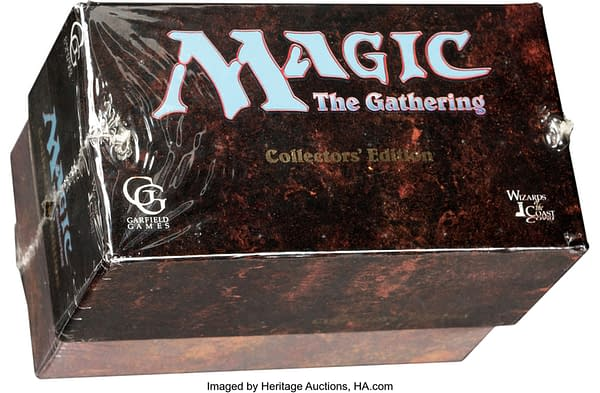 The front of the unopened box for the Magic: The Gathering Collectors' Edition presently on auction at Heritage Auctions.