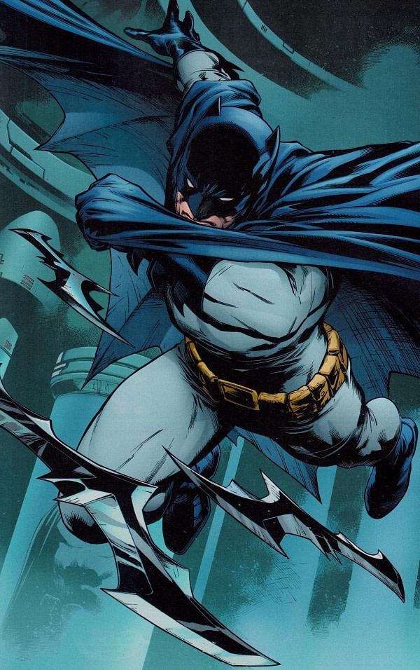 Batman jetant des Batarangs en avant face à la méchanceté.