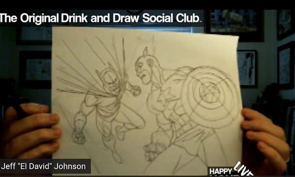 Jeff Johnson draws Batman Vs Captain America.
