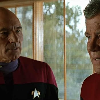 "Sir Patrick Stewart and William Shatner in ""Star Trek: Generations"""