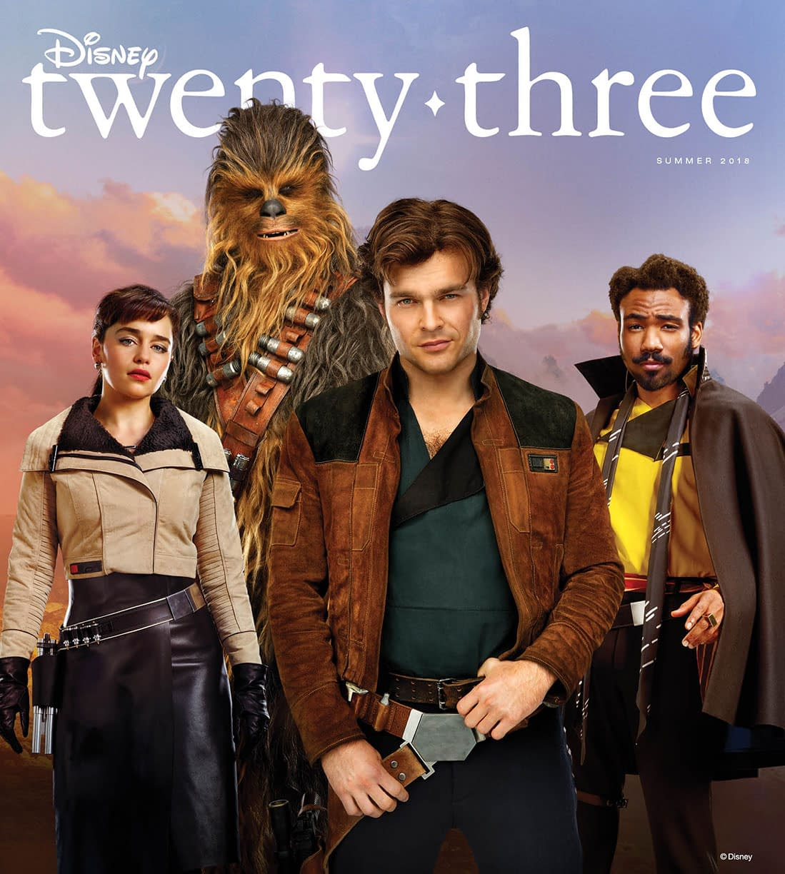The Cast of Solo: A Star Wars Story Strikes a Pose on the Cover of Disney's Twenty-Three