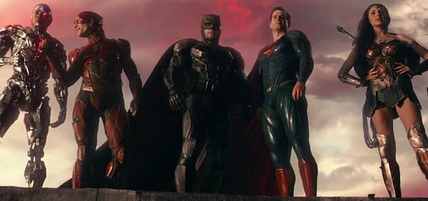 Ray Fisher, Ezra Miller, Ben Affleck, Henry Cavill, and Gal Gadot in Justice League (2017). Image courtesy of Warner Bros.