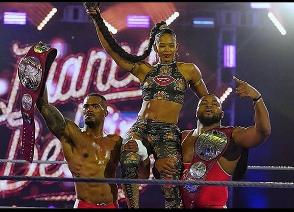 The Street Profits and Bianca Belair celebrate a WrestleMania 36 victory, photo courtesy of WWE.