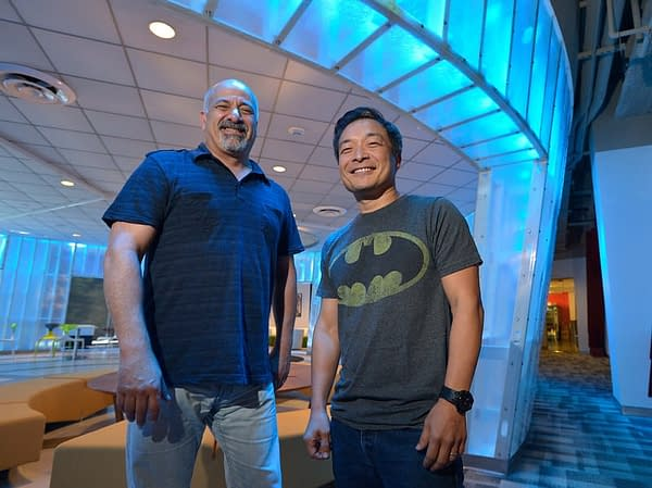 """DC Comics co-publishers Dan DiDio and Jim Lee. Burbank, CA 8/28/2015 (photo by John McCoy Daily News)"""