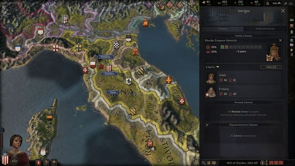 A screenshot from Paradox's strategy game Crusader Kings III, wherein there is a scheme for a murder to take place.