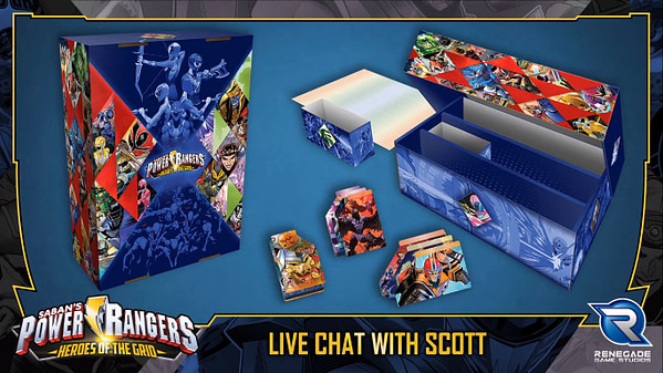 La boîte de rangement conçue pour les cartes dans Power Rangers: Heroes of the Grid.