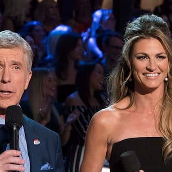 "DANCING WITH THE STARS - ""Episode 2707: Country Night"" (Eric McCandless/Walt Disney Television) TOM BERGERON, ERIN ANDREWS"