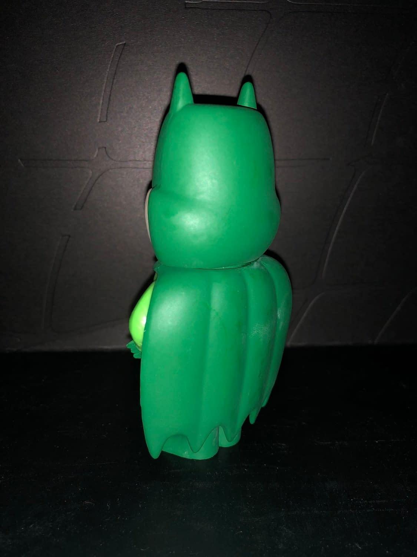 Funko Soda Vinyl Figure Emerald City Comic Con Exclusive Green Batman Figure, back view of figure.