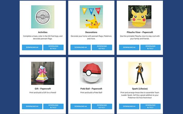 Pokémon GO Fest 2020 papercrafts. Credit: Niantic.