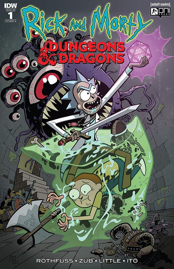 Rick and Morty vs Dungeons and Dragons #1 cover by Troy Little