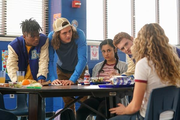 Jasun Jabbar as Brian, Sam Brooks as Travis, Yvette Monreal as Yolanda Montez, Jake Austin Walker as Henry King Jr., and Brec Bassinger as Courtney Whitmore in Stargirl, courtesy of The CW.