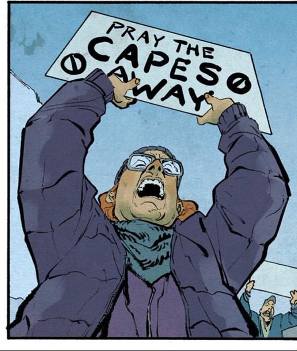 Donny Cates montre 'Priez les capes' avec Geoff Shaw à l'image.