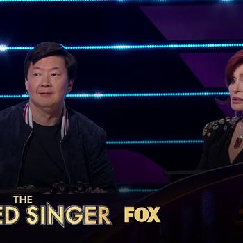 Ken Jeong and Sharon Osbourne on The Masked Singer, courtesy of FOX.