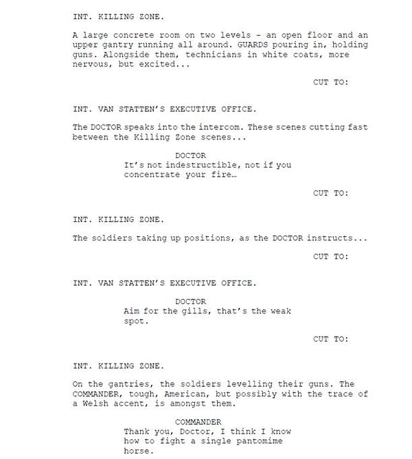 Robert Shearman's fourth page of script extracts from Doctor Who, courtesy of BBC.