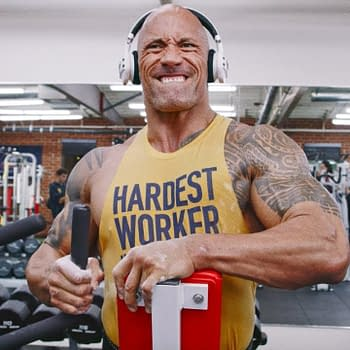 Dwayne Johnson aka WWE wrestling superstar The Rock, in the gym, courtesy of Dwayne Johnson.