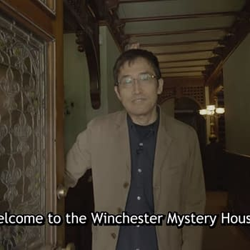 A still from the Crunchyroll interview with Junji Ito, wherein Ito welcomes his audience to the Winchester Mystery House.