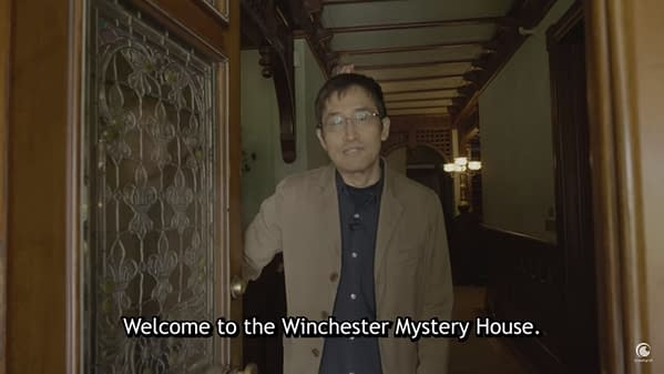A still from the Crunchyroll interview withUzumaki writer Junji Ito, wherein Ito welcomes his audience to the Winchester Mystery House.