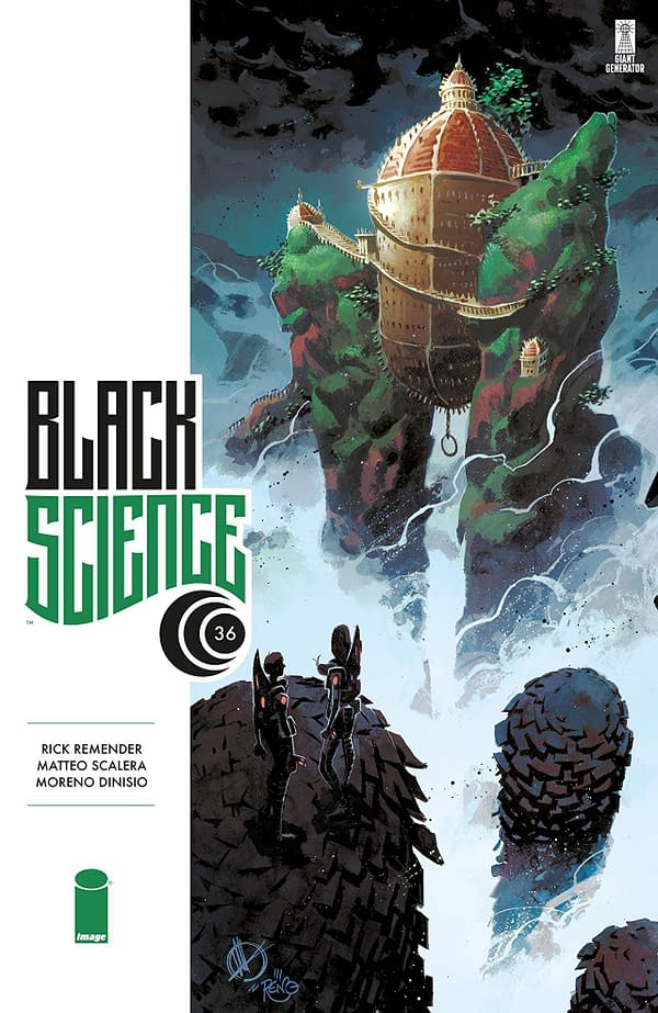 Black Science #36 cover by Matteo Scalera and Moreno Dinisio