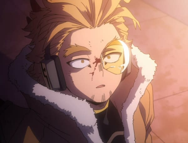 Hawks isn't giving up without a fight on My Hero Academia, courtesy of Funimation.