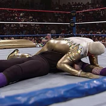 Dustin Rhodes has The Undertaker in a pinning predicament.