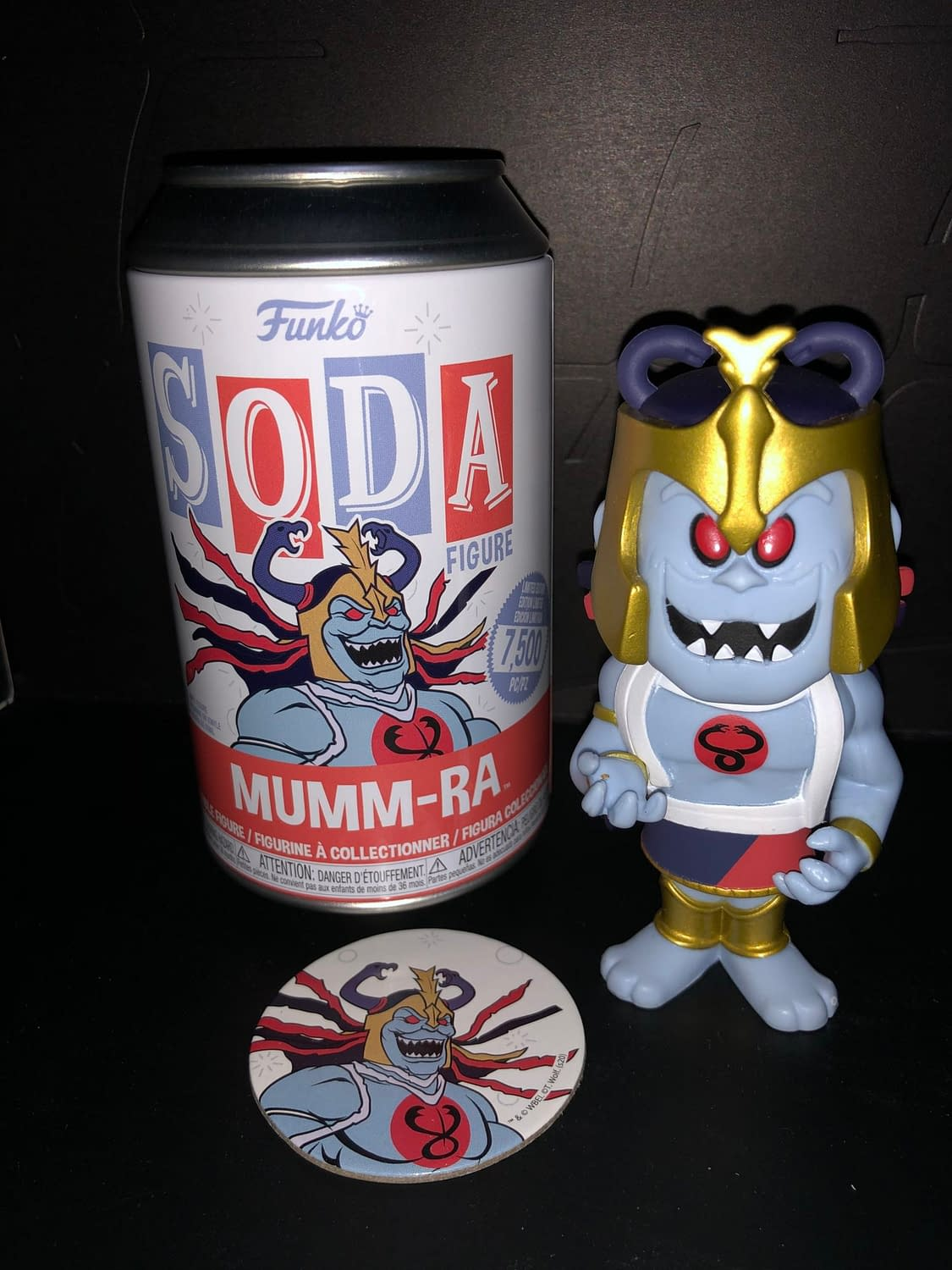 Funko Soda Vinyl Figure Thundercats Mumm-Ra Figure and can front view.
