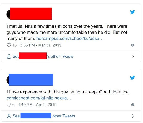 Jai Nitz Responds to Allegations of Predatory Behaviour, as More Details Emerge